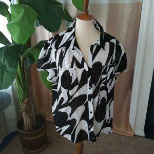 Michael Kors Woman Plus Size 22 Black White top